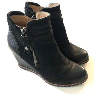 BIALA Ashton Black Leather Wedge Ankle Bootie